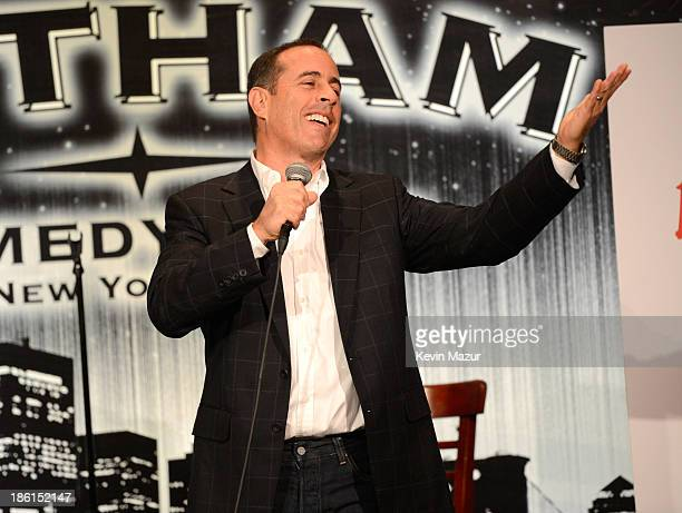 Jerry Seinfeld performs on stage at the 8th Annual Laugh For Sight All-Star Comedy Benefit at Gotham Comedy Club on October 28, 2013 in New York City.