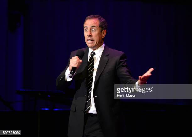 Jerry Seinfeld performs on stage at the National Night Of Laughter And Song event hosted by David Lynch Foundation at the John F Kennedy Center for...