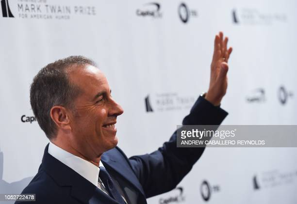 Jerry Seinfeld poses on the red carpet for the 21st Annual Mark Twain Prize for American Humor at the Kennedy Center in Washington DC on October 21...