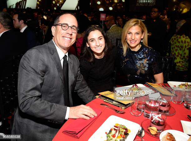 Jerry Seinfeld Sascha Seinfeld and Jessica Seinfeld attend The Robin Hood Foundation's 2018 benefit at Jacob Javitz Center on May 14 2018 in New York...