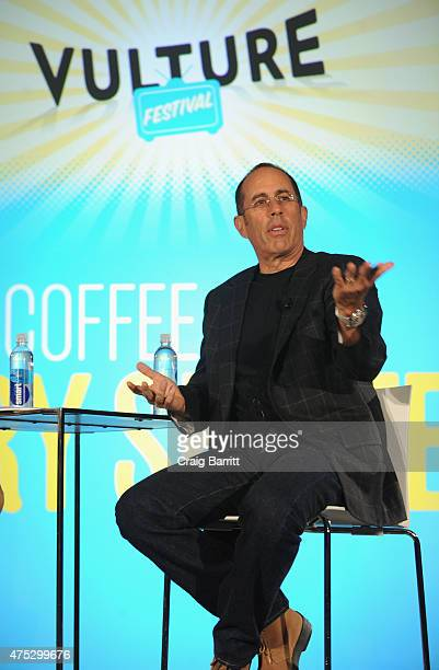 Jerry Seinfeld speaks on stage during Vulture Festival Presents Coffee with Jerry Seinfeld at Milk Studios on May 30 2015 in New York City