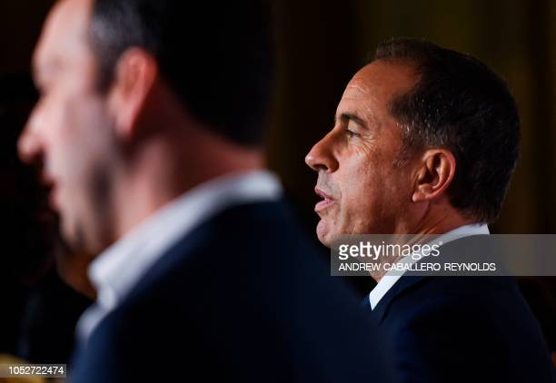 Jerry Seinfeld speaks to reporters on the red carpet for the 21st Annual Mark Twain Prize for American Humor at the Kennedy Center in Washington DC...