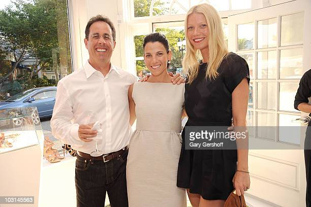 Jerry Seinfeld, wife Jessica Seinfeld, and Gwyenth Paltrow attend an evening of shopping to benefit Baby Buggy at Balenciaga on July 28, 2010 in East...