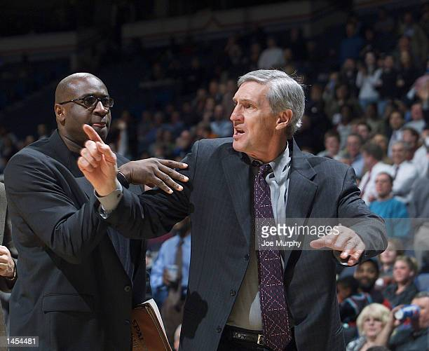 Jerry Sloan Head Coach of the Utah Jazz expresses his anger after receiving his second technical foul and an ejection from a game against the Memphis...