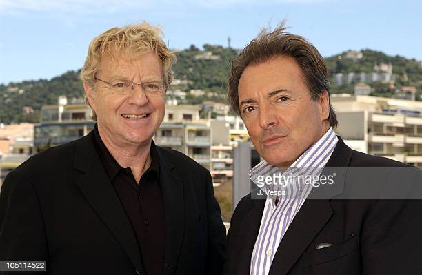 Jerry Springer and Armand Assante during 2003 Cannes Film Festival 'Citizen Verdict' Portraits at The Savoy Hotel in Cannes France