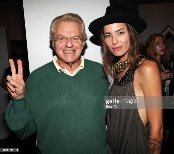 Jerry Springer and Tasya Van Ree attend photographer Tasya Van Ree's new exhibition 'Untitled Project' opening at the Celebrity Vault on August 11...