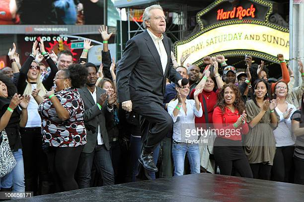 Jerry Springer performs during the Jerry Springer Show 20th anniversary at Military Island Times Square on October 11 2010 in New York City