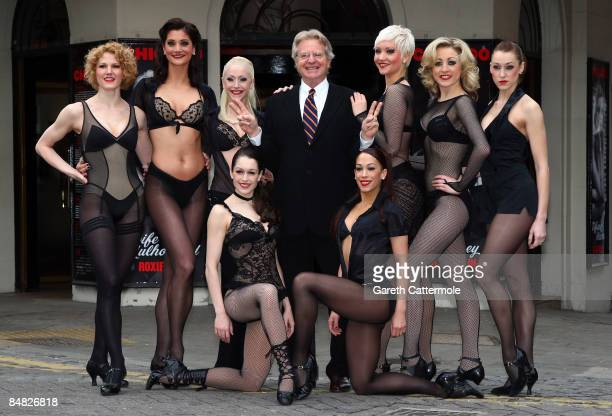Jerry Springer poses with cast from Chicago at The Cambridge Theatre on February 17 2009 in London England Jerry Springer will be starring in the hit...