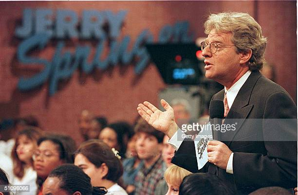Jerry Springer Speaks To Guests During His Show December 17 1998 The Show Which Features Violent Outbrusts And Adult Content Has Been Soaring In The...