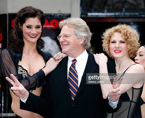 Jerry Springer With Cast Members Of Chicago At A Photocall To Announce His Stage Debut As Billy Flynn In The Musical At The Cambridge Theatre In...