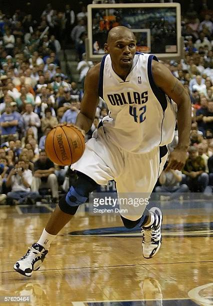 Jerry Stackhouse 342 of the Dallas Mavericks drives against the San Antonio Spurs in Game four of the Western Conference Semifinals during the 2006...