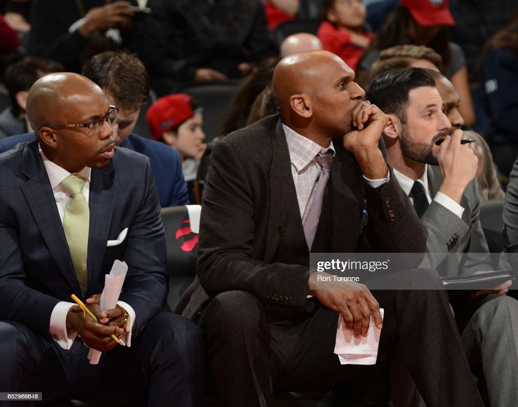 Jerry Stackhouse (cent), Head Coach of the Raptors 905 watches the game with his assistant coaches during the game against the Austin Spurs at the Air Canada Centre on March 13, 2017 in Toronto, Ontario, Canada.