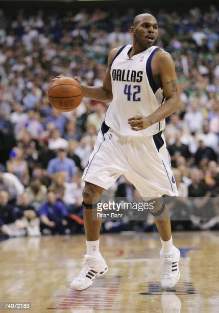 Jerry Stackhouse of the Dallas Mavericks brings the ball upcourt in Game Five of the Western Conference Quarterfinals of the Golden State Warriors...