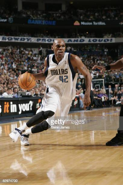 Jerry Stackhouse of the Dallas Mavericks drives to the basket against the Phoenix Suns in Game four of the Western Conference Semifinals during the...