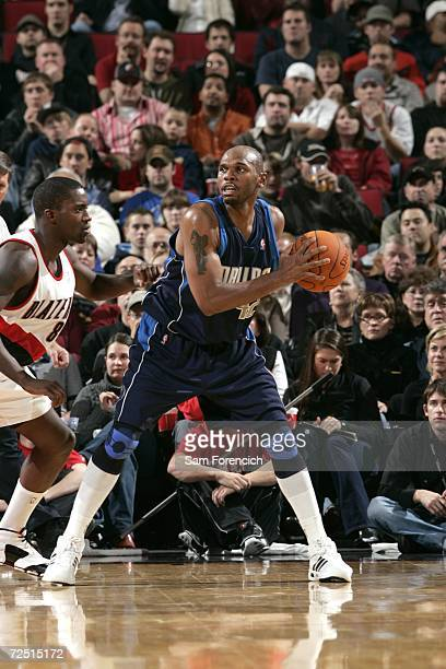 Jerry Stackhouse of the Dallas Mavericks looks for an opening around Martell Webster of the Portland Trail Blazers on November 12, 2006 at the Rose...