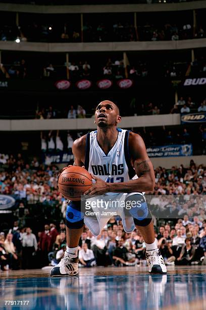 Jerry Stackhouse of the Dallas Mavericks shoots a free throw during the game against the Houston Rockets on November 5, 2007 at American Airlines...