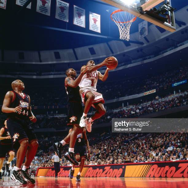 Jerry Stackhouse of the Philadelphia 76ers defends Randy Brown of the Chicago Bulls during a game played on November 1 1997 at the First Union Arena...