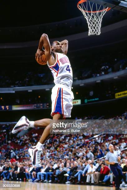 Jerry Stackhouse of the Philadelphia 76ers dunks during a game played on March 4 1997 at the First Union Arena in Philadelphia Pennsylvania NOTE TO...