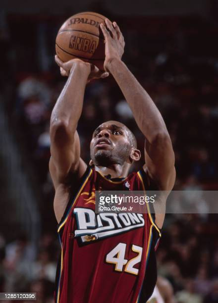 Jerry Stackhouse, Shooting Guard for the Detroit Pistons prepares to make a free throw during the NBA Midwest Division basketball game against the...