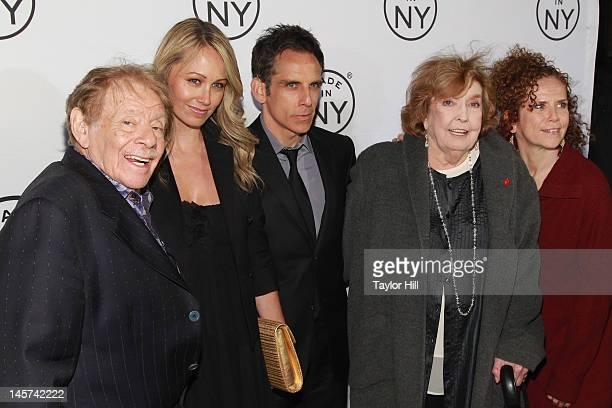 Jerry Stiller Christine Taylor Ben Stiller Anne Meara and Amy Stiller attend the 2012 Made In NY Awards at Gracie Mansion on June 4 2012 in New York...