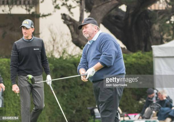 Jerry Tarde follows the ball from his drive at the 1st tee during the second round of the ATT Pebble Beach ProAm in Pebble Beach CA on Friday...