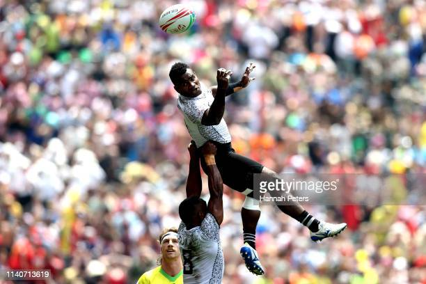 Jerry Tuwai of Fiji loses the ball against Australia on day two of the Cathay Pacific/HSBC Hong Kong Sevens at the Hong Kong Stadium on April 06 2019...