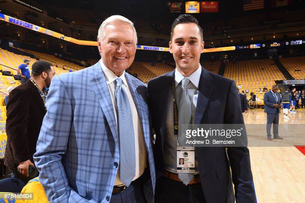 Jerry West and Jonnie West of the Golden State Warriors pose for a photo before Game One of the Western Conference Semifinals against the Utah Jazz...