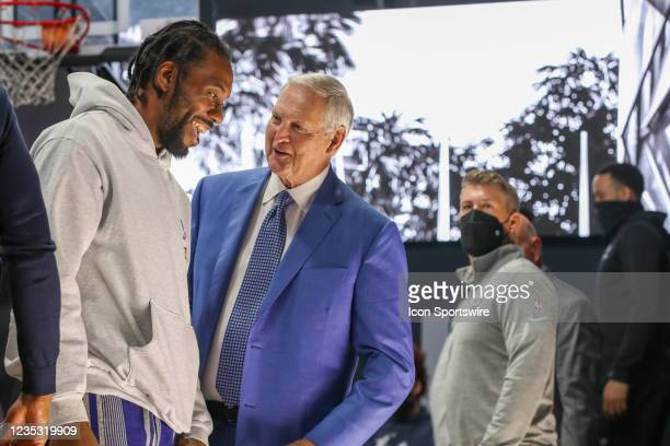 Jerry West and Kawhi Leonard catch a laugh during the Los Angeles Clippers Ground breaking Ceremony on September 17 at the Intuit Dome site in...