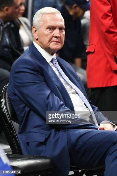 Jerry West attends a basketball game between the Los Angeles Clippers and the Utah Jazz at Staples Center on November 03 2019 in Los Angeles...