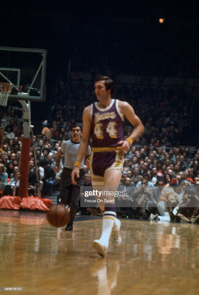 bfb2f0130e3 Jerry West of the Los Angeles Lakers dribbles the ball up court ...