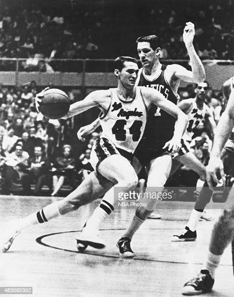 Jerry West of the Los Angeles Lakers drives against the Boston Celtics circa 1960 at the Los Angeles Memorial Sports Arena in Los Angeles CA NOTE TO...