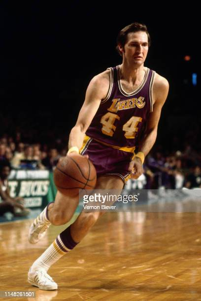 Jerry West of the Los Angeles Lakers handles the ball against the Milwaukee Bucks on November 26 1974 at the Milwaukee Arena in Milwaukee Wisconsin...