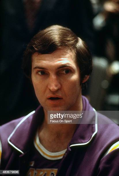 Jerry West of the Los Angeles Lakers looks on against the New York Knicks during an NBA basketball game circa 1969 at Madison Square Garden in the...