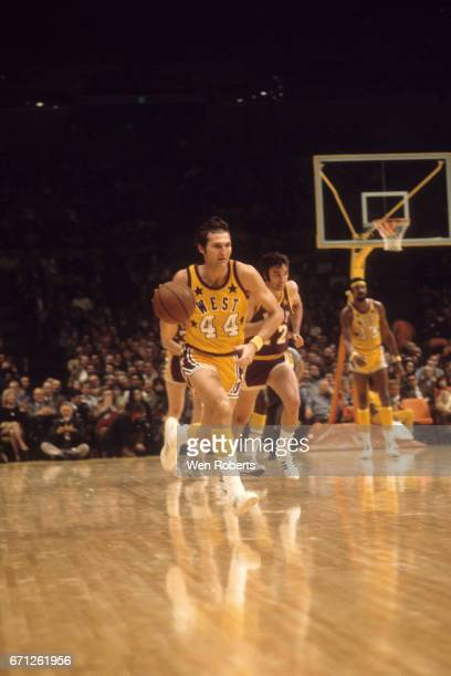 Jerry West of the West drives against the East during the 1972 NBA AllStar Game on January 18 1972 at The Forum in Inglewood California The West...