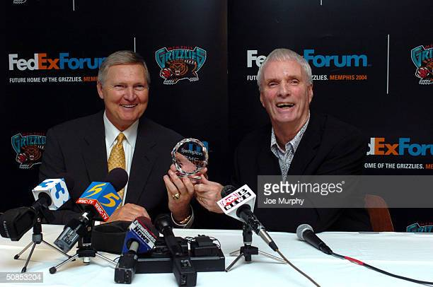 Jerry West President of Basketball Operations of the Memphis Grizzlies receives the Executive of the Year award from Hubie Brown Head coach of the...