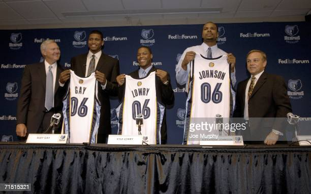 Jerry West President of Basketball Operations Rudy Gay Kyle Lowry and Alexander Johnson the Memphis Grizzlies' new Draft picks and Mike Fratello head...