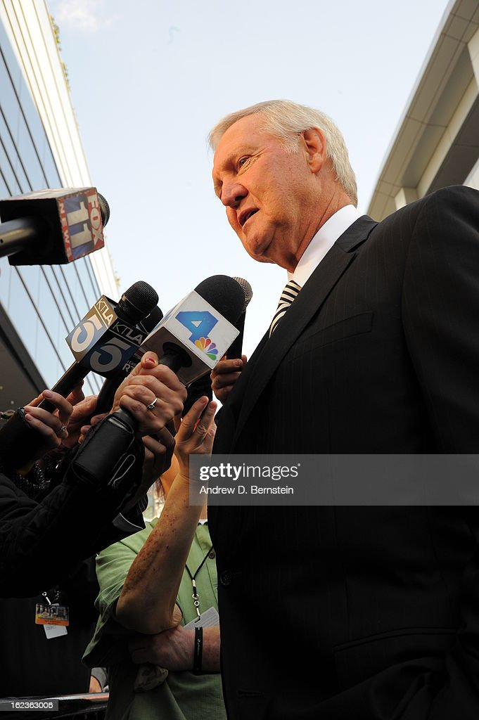 Jerry West speaks to the media before the memorial service for Los Angeles Lakers Owner Dr. Jerry Buss at Nokia Theatre LA LIVE on February 21, 2013 in Los Angeles, California.