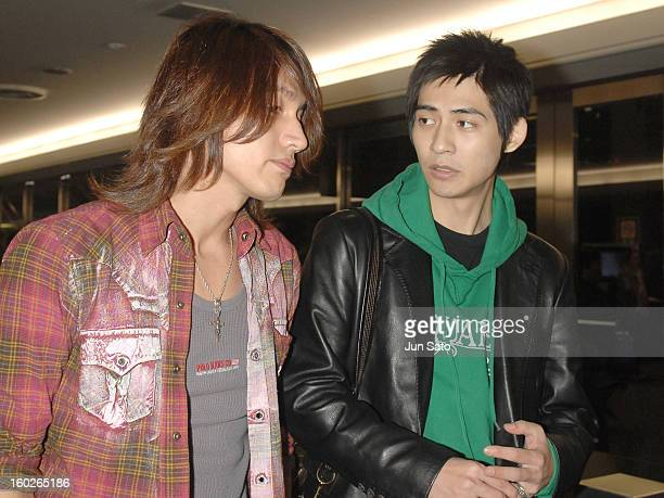 Jerry Yan and Vic Chou of F4 during F4 Arrives in Tokyo to Promote Taiwanese Tourism March 6 2007 at Narita International Airport in Narita Japan