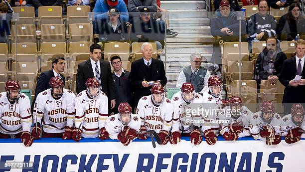 Jerry York head coach the Boston College Eagles stands behind the bench during the NCAA Division I Men's Ice Hockey Northeast Regional Championship...