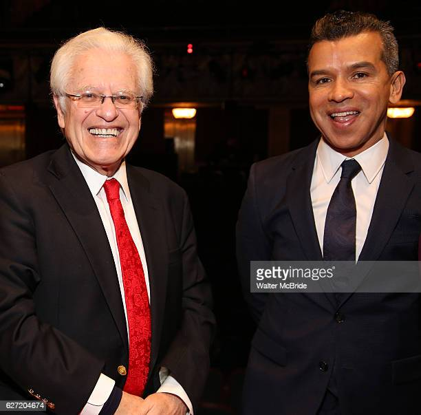 Jerry Zaks and Sergio Trujillo during the Actors' Equity Gypsy Robe Ceremony honoring Jonathan Brody for 'A Bronx Tale' at The Longacre on December 1...