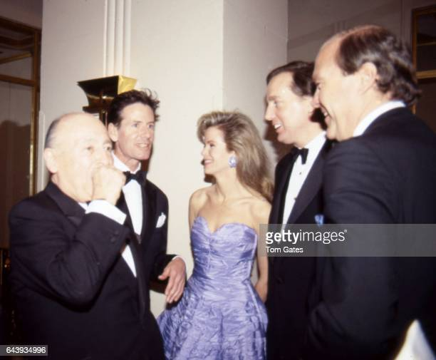 Jerry Zipkin Calvin Klein Blaine Trump and Robert Trump attend a tribute to actor James Stewart at the Grand Ballroom of the Waldorf Astoria Hotel in...