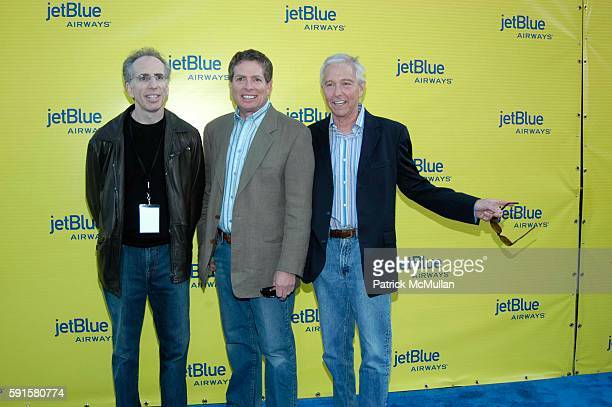 Jerry Zucker David Zucker and Jim Abrahams attend JetBlue Airways' launch event in Los Angeles at Warner Brothers STudios on June 13 2005 in Burbank...