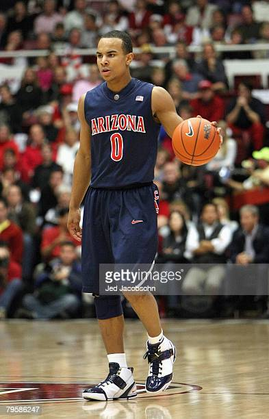Jerryd Bayless of the Arizona Wildcats dribbles the ball against the Stanford Cardinal at Maples Pavillion on January 17 2008 in Stanford California