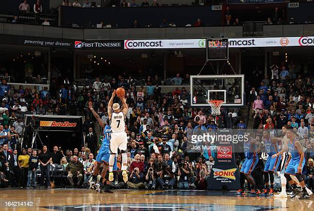 Jerryd Bayless of the Memphis Grizzlies shoots a buzzer beater against the Oklahoma City Thunder to send the game into overtime on March 20 2013 at...