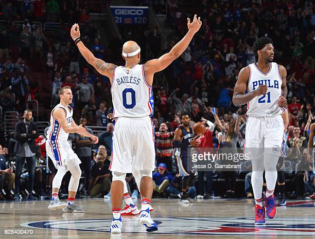 Jerryd Bayless of the Philadelphia 76ers gets the crowd pumped up against the Memphis Grizzlies at Wells Fargo Center on November 23 2016 in...