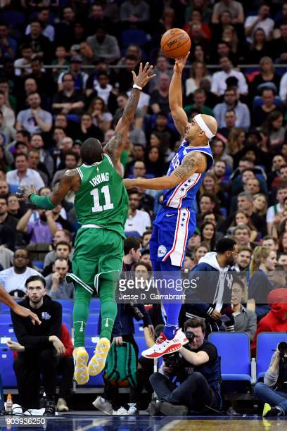 Jerryd Bayless of the Philadelphia 76ers shoots the ball during the game against the Philadelphia 76ers on January 11 2018 at The O2 Arena in London...