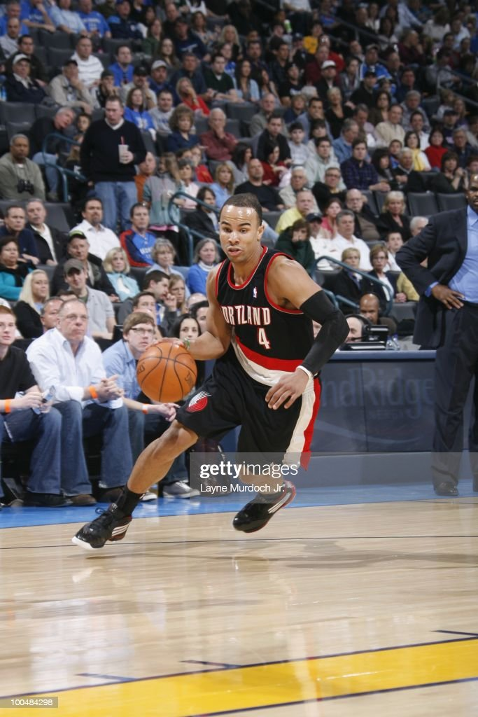 Jerryd Bayless #4 of the Portland Trailblazers dribbles against the Oklahoma City Thunder on March 28, 2010 at the Ford Center in Oklahoma City, Oklahoma.