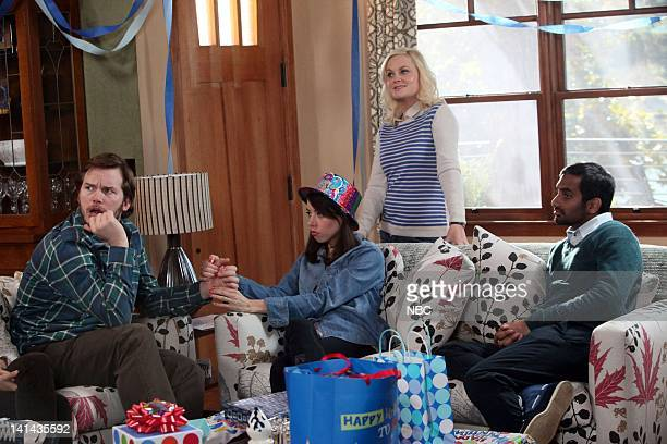 RECREATION Jerry's Sweet 16 Episode 416 Pictured Chris Pratt as Andy Dwyer Aubrey Plaza as April Ludgate Amy Poehler as Leslie Knope Aziz Ansari as...