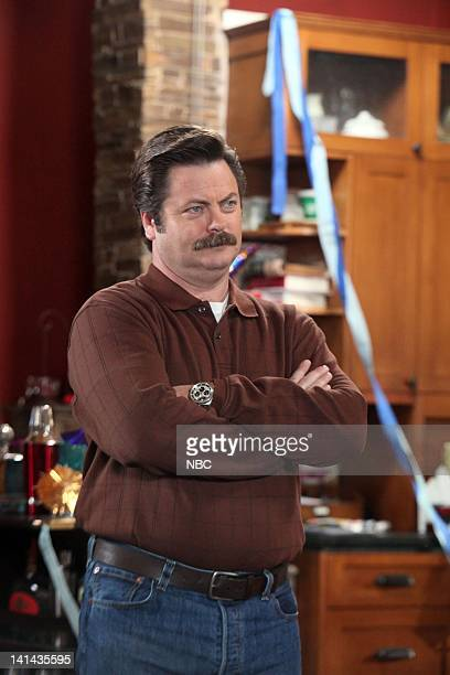 RECREATION Jerry's Sweet 16 Episode 416 Pictured Nick Offerman as Ron Swanson Photo by Danny Feld/NBC/NBCU Photo Bank