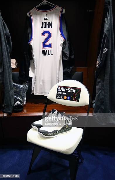 A jersey and sneakers to be worn by John Wall of the Eastern Conference Team prior to the 64th NBA AllStar Game presented by Kia as part of the 2015...